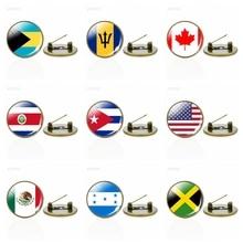 Broches drapeau amérique du nord Canada amérique mexique jamaïque Bahamas Cuba Costa Rica barbade drapeau verre Cabochon Badges broches