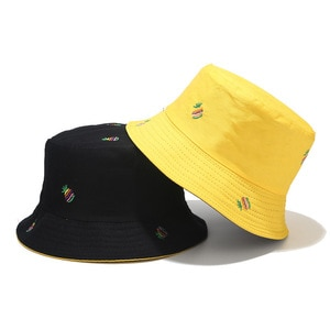 2021 four seasons Cotton Fruit pineapple print two side Bucket Hat Fisherman Hat outdoor travel Cap for Men and Women 136