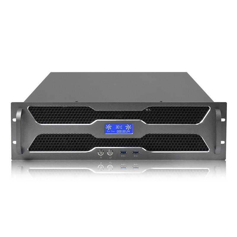 HTPC OEM 19 بوصة حالة الخادم 3u صناعة هيكل الخادم 3u atx وحدة معالجة خارجية للحاسوب مع وحدة معالجة مركزية مزدوجة