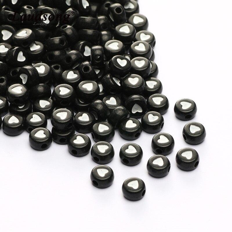 Redondo 4x7mm acrílico coração padrão preto solto contas para a criança jóias fazendo suprimentos diy artesanal colar pulseira acessórios