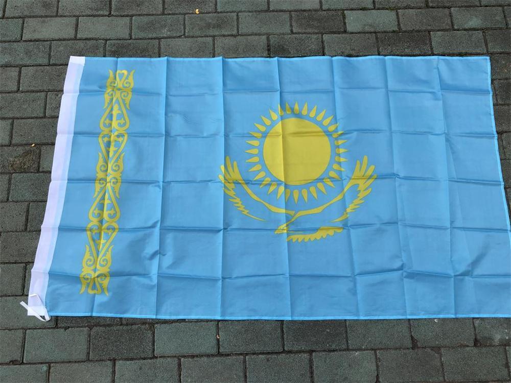 Cazaquistão 90*150cm pendurado bandeiras bandeira escritório/atividade/desfile/decoração banner para o festival de para casa uma copa