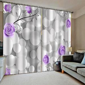 Purple rose curtains 3D Window Curtain Decoration curtains  Luxury Blackout For Living Room