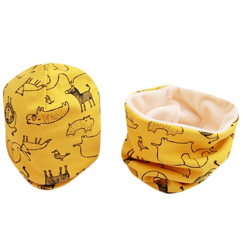 New Fashion Baby Cap Set Cartoon Owl Stars Baby Head Cover Spring Warm Neck Collar Kids Beanies Sets