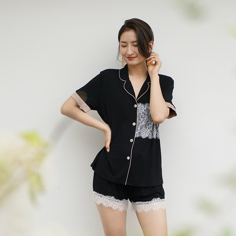 Verão feminino pijamas modais fina renda short-sleeved 2 peça terno pele-friendly casa sleepwear feminino sleepwear pijima