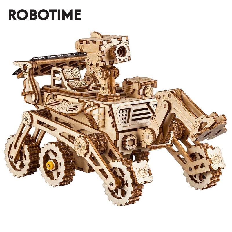 Robotime ROKR DIY Solar Energy Wooden Blocks Toys Model Building Kit Space Hunting Assembly Toys For Children Kids