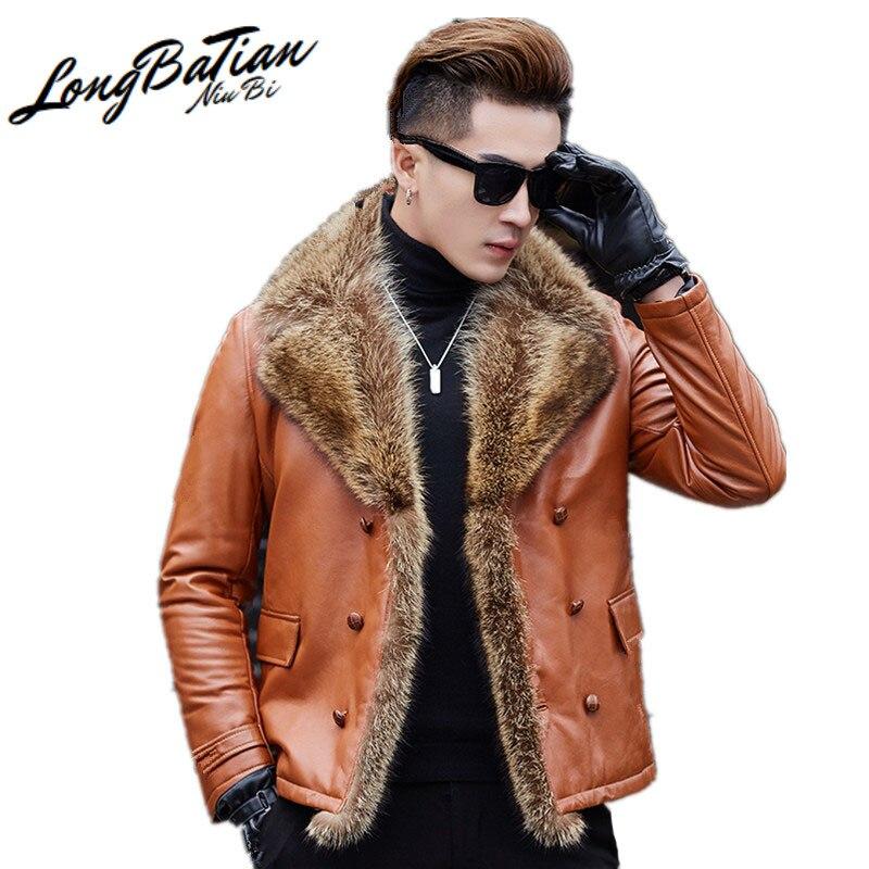 Genuíno inverno dos homens de pele carneiro couro 20% pato para baixo jaqueta real pele de guaxinim colarinho casaco roupas dos homens my890