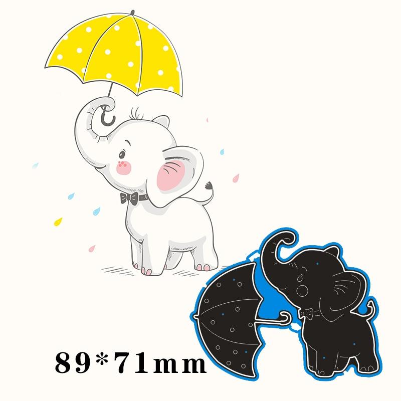 89*71mm elephant and umbrella Metal Cutting Dies for card DIY Scrapbooking stencil Paper Craft Album template Dies