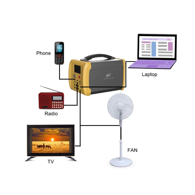 Sistema di energia solare con pannello solare da 100W e 6 lampadine a LED che illuminano il sistema domestico con TV DC e ventilatore