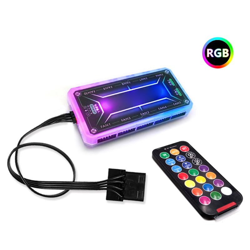 Фото - 12cm Desktop PC Computer Case Cooling Fan LED Lights Color Changing RGB Chassis Fan Controller Remote Control coolmoon rgb controller 4pin pwm 5v 3pin argb cooling fan smart intelligent remote control for pc case chassis