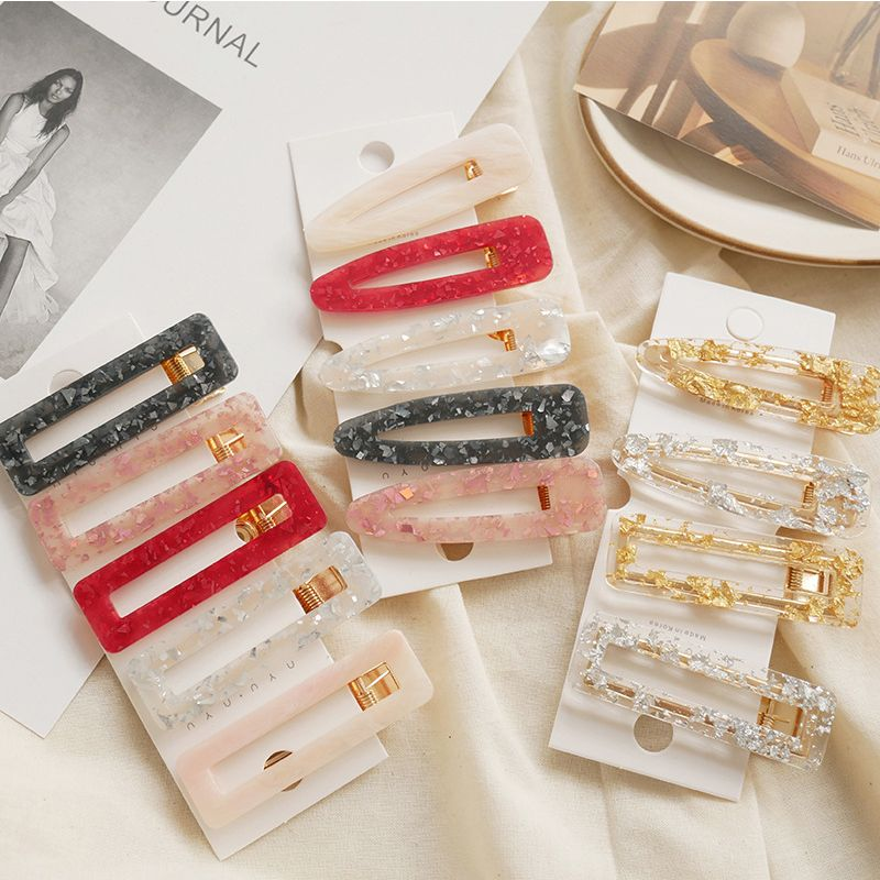 Acrylic Waterdrop Rectangle Geometric Hairpins Hollow Barrette Big Hair Clips Girls Accessories