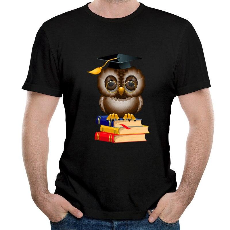 New Arrival Owl College High School Library Autumn Comfortable T Shirt Hip hop Summer Tops T Shirt R