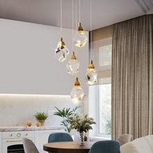 Candelabro moderno de Cristal para escalera, lámpara colgante de Cristal para Loft largo, lámpara colgante de Cristal para cocina, lámpara colgante de Cristal para Led de latón