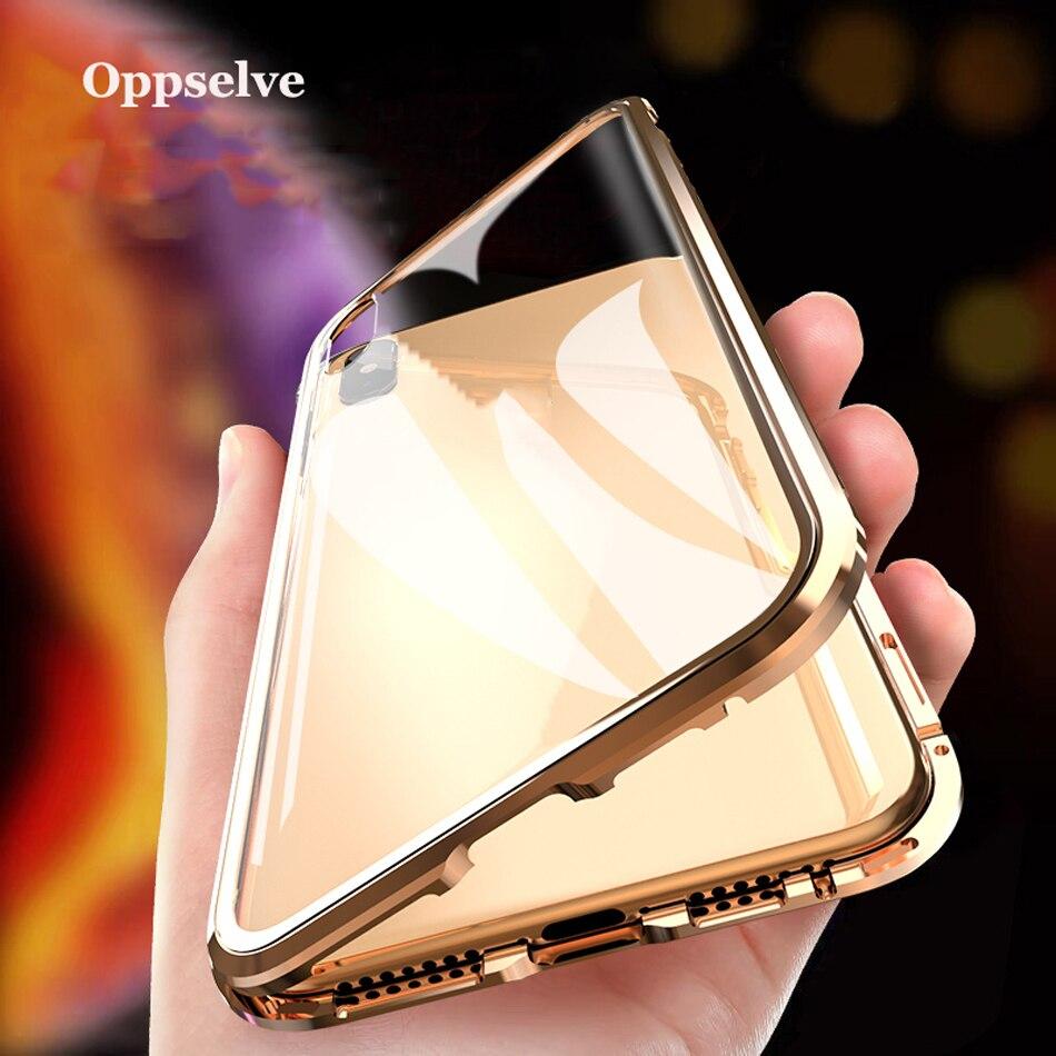 Oppselve Funda magnética de Metal de vidrio de doble cara de lujo para iPhone Xs Max Xr X 8 7 6 6s Plus cubierta magnética 360 protección Capinhas