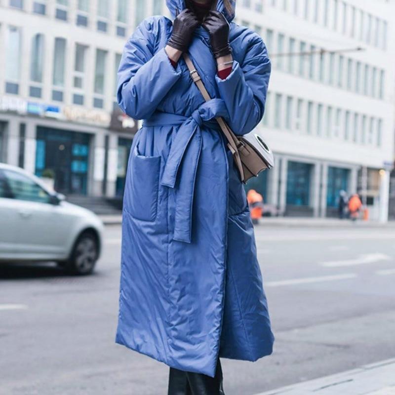 Женская длинная куртка с капюшоном и карманами, свободная теплая хлопковая куртка большого размера, зимний сезон 2021