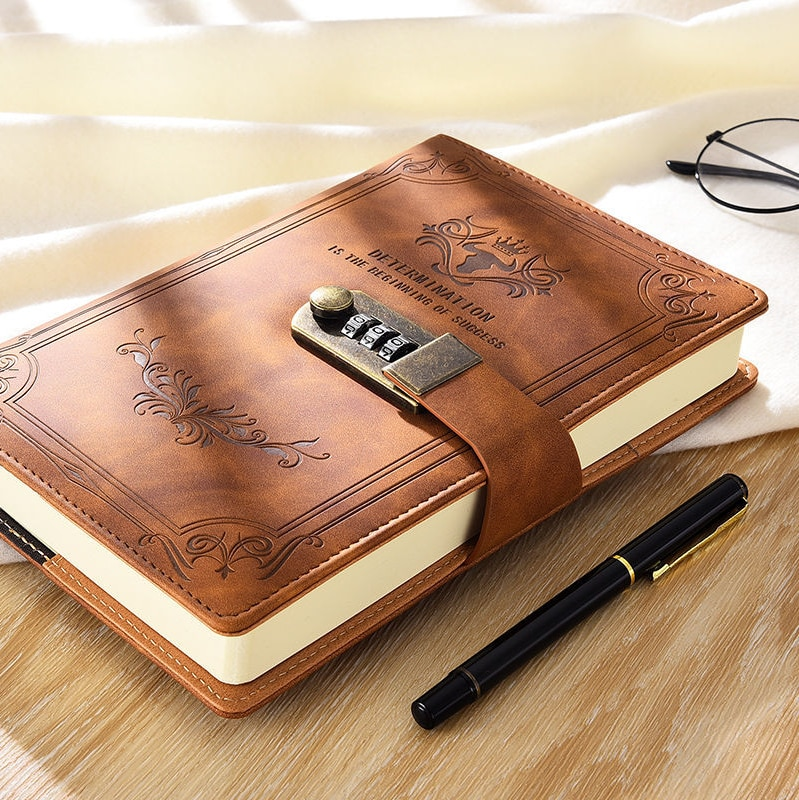 200 pages a5 retro password book with creative thickened diary lock hand ledger student notepad stationery notebook binder