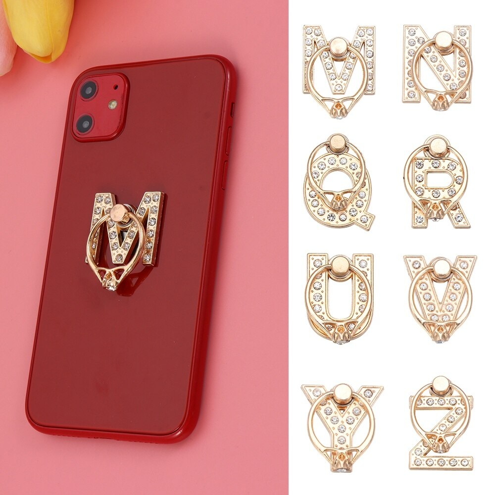 360 grados diamante Metal letra A-Z dedo anillo Smartphone soporte teléfono móvil soporte para iPhone para Huawei todos los teléfonos