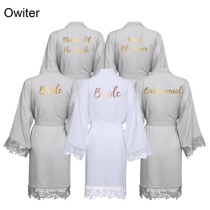 Owiter, túnicas de encaje de algodón de rayón, ropa de baño de talla grande para boda, bata de dama de Honor, vestido de novia, ropa de dormir para mujer, gris de dama de Honor