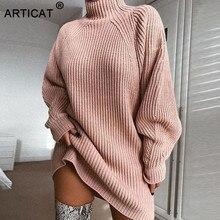 Articat 2020 outono inverno camisola vestido feminino gola alta manga longa solto pullovers de malha preto casual vestido de festa
