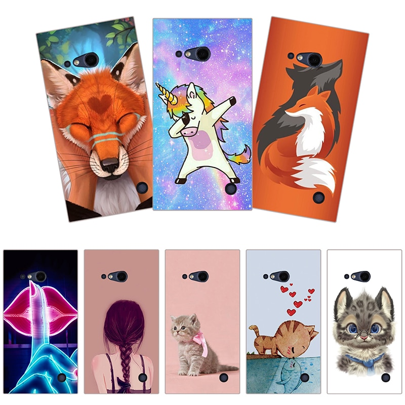 Carcasa estampada para Nokia Lumia 730 735 N735, carcasa trasera de silicona suave con estampado de flor gato perro mariposa Animal