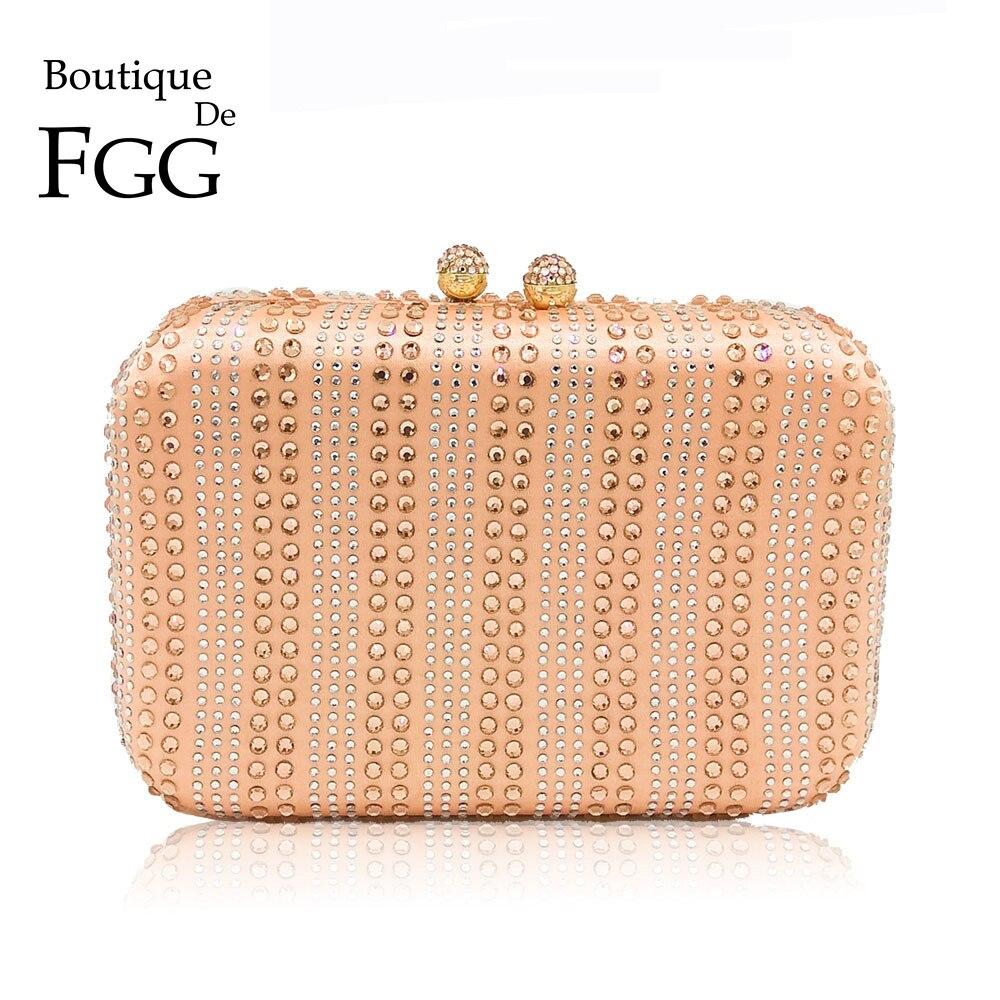 Boutique De FGG-حقائب سهرة للنساء ، حقائب يد بلون الشمبانيا ، حقائب عشاء من الكريستال وحجر الراين