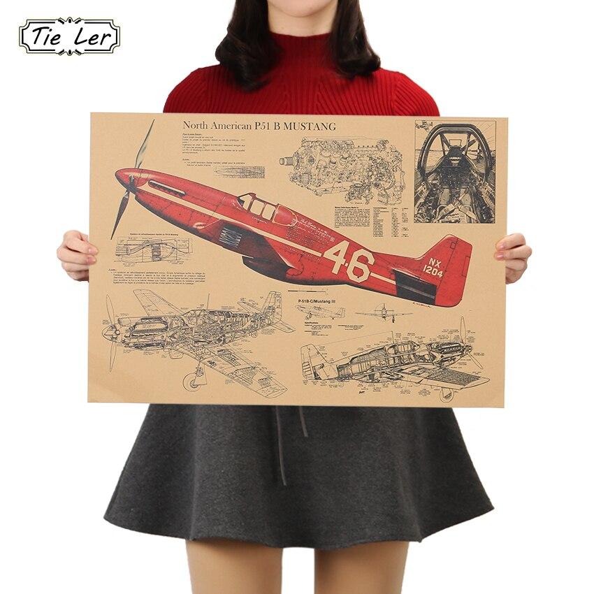 Декоративный ретро-постер TIE LER Fighter Aircraft, крафт-бумага
