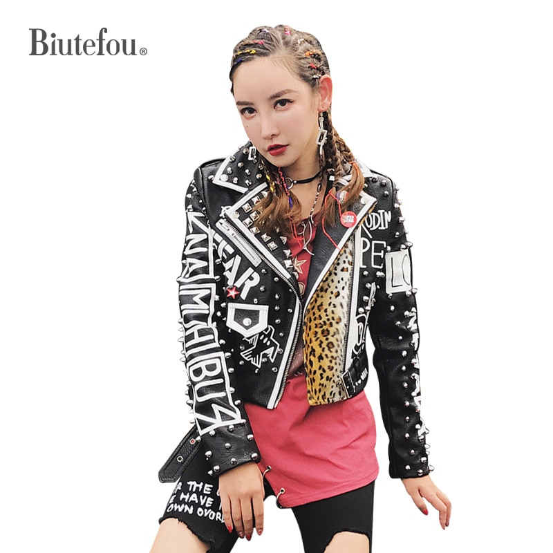 2021 Spring Women Graffiti Print Rivets Leopard Stitched Leather Motorcycle Jacket