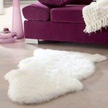 Super doux Faux peau de mouton lavable tapis chaud poilu siège tapis moelleux fausse fourrure tapis pour chaises de sol canapés coussins 60x40cm