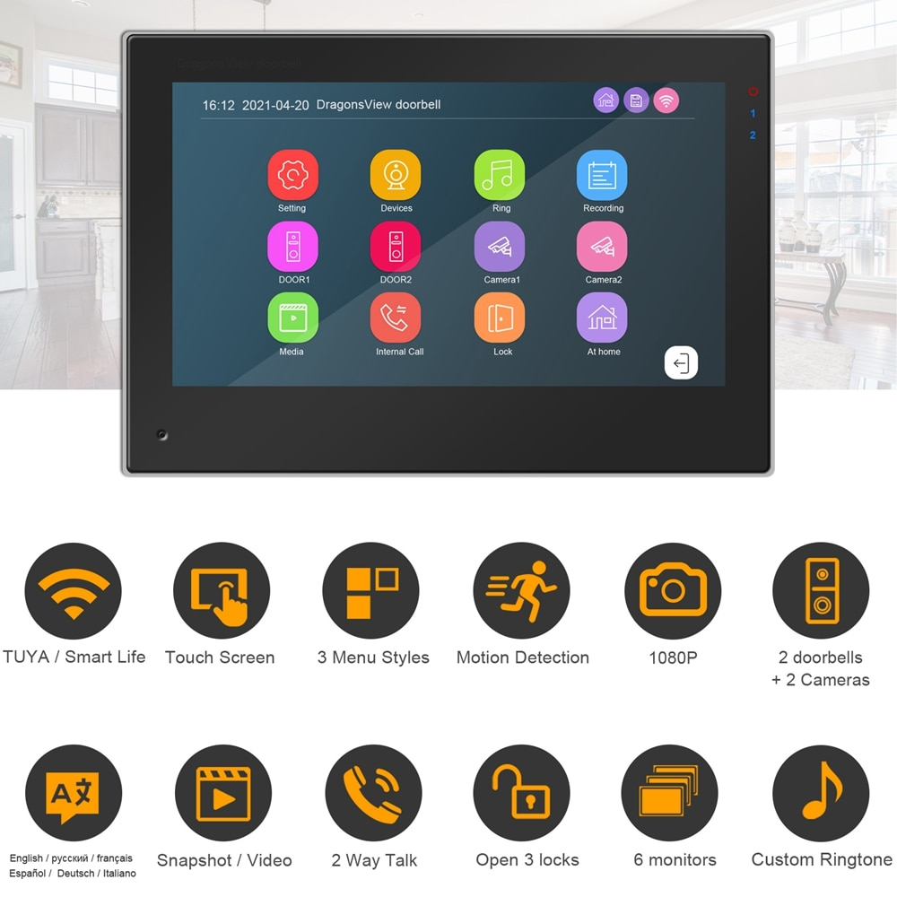 Apartment Intercoms WIFI Video Intercom for Home TUYA Smart Life Video Door Phone  Touch Screen RFID Video Doorbell Camera 1080P enlarge