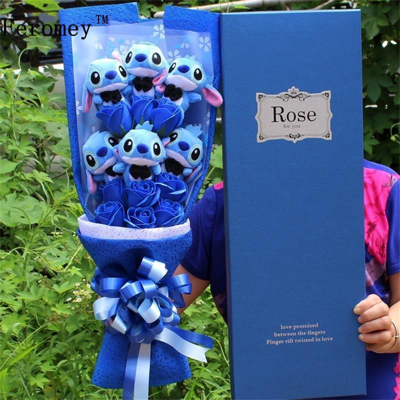 Мультяшная игрушка Лило Стич Дораэмон, плюшевая кукла, милый аниме Лило Стич, плюшевый букет с искусственный цветок для свадьбы, подарок для...