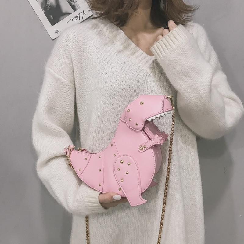 Women's Designer Fashion Dinosaur Rivets Purses Handbags Cute Shoulder Chain Bags Female Mini Crossbody Clutch Bags Pu Leather
