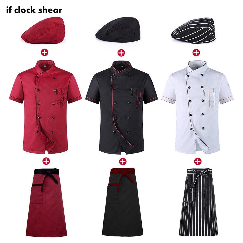 2019 Chefs Short Sleeve Summer Set Restaurant Hotel Kitchen Workwear Men and Women Youth Breathable Thin Jacket + Hat + Apron