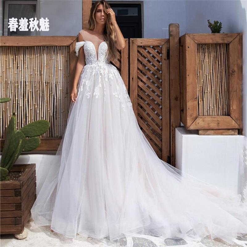 2021 Vestido De Noiva Boho Lace Wedding Dresses Off The Shoulder Backless Bride Gowns Appliques Beach Princess Bridal Dress недорого