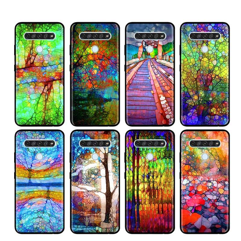 Funda fina para LG K40 K40S K41S K50S K51S K61 G6 G7 G8 (ThinQ) Q51 Q60 Q61 Q70 cubierta del teléfono abstracto Arco Iris onda tinte de corbata arte