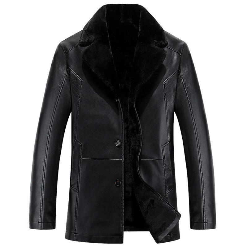 Chaqueta de cuero y abrigo grueso y cálido de alta calidad para hombre, ropa Casual de moda para hombre, chaquetas de cuero negras de invierno ruso jaquet