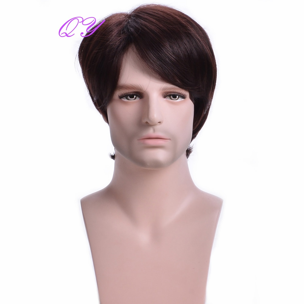 Synthetic Short Men Wigs Red Mix Brown Natural Straight Male Wig Hair Breathable High Temperature Adjustable Size Headband Wig