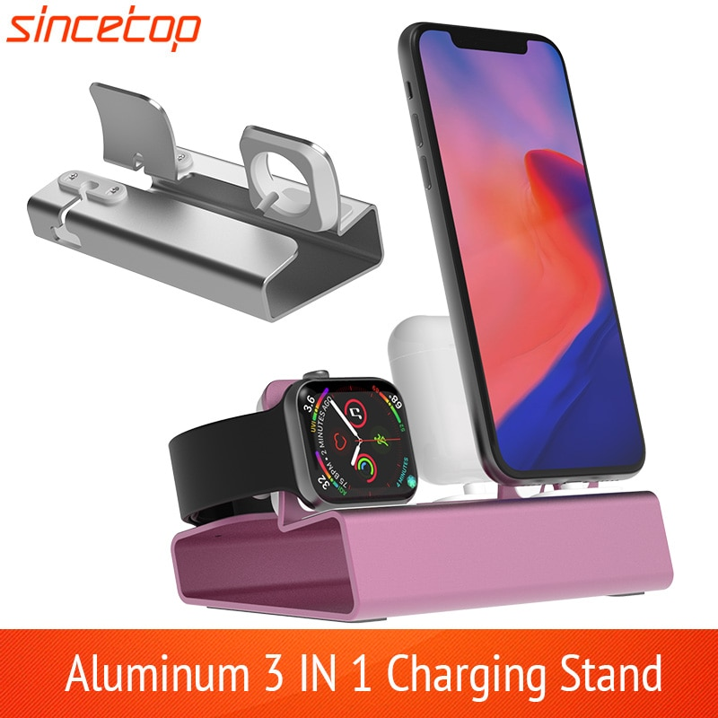 Base de carga de aluminio 3 en 1 para iPhone 11 Pro XR XSMax 8 7 6 para Apple Watch Airpods, soporte de cargador, estación de soporte PD