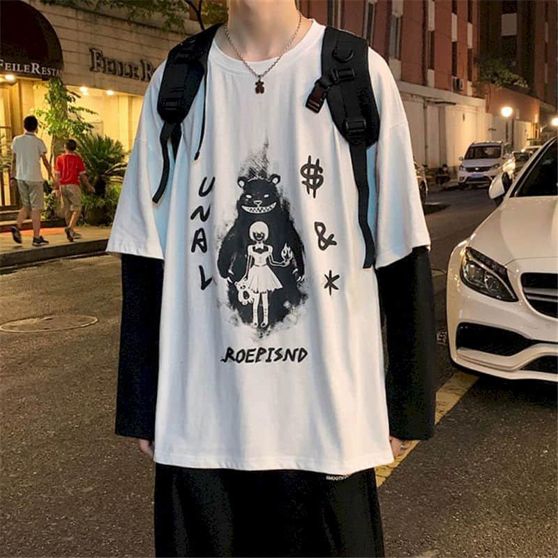Falso de duas peças camiseta masculina de manga comprida maré marca outono inverno solto ins hong kong estilo estudante roupas coreano casal topos