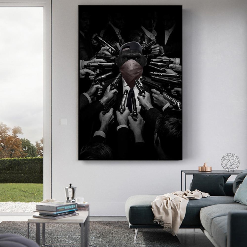 Pósteres e impresiones de monos arrestados en blanco y negro Bandit enmascarado mono lienzo pintura arte de pared imagen para la decoración del hogar de la sala de estar