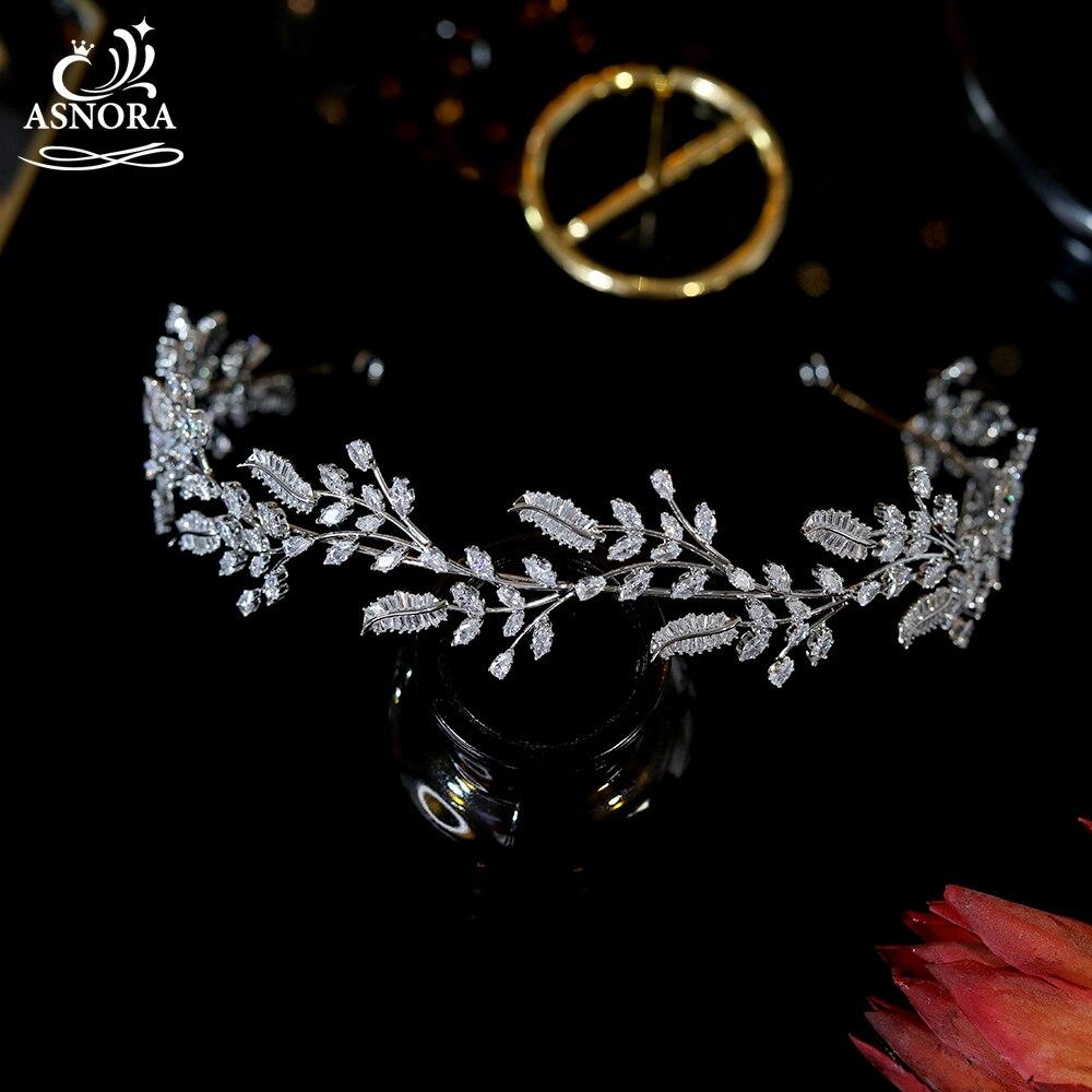 ASNORA-إكسسوارات شعر الزفاف ، عصابات شعر على شكل أوراق الشجر والتيجان والتيجان والتيجان A00858