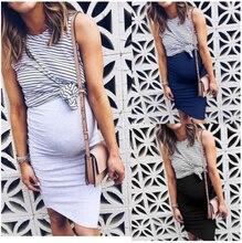 Maternity Dresses Women Fake Two Piece Pregnancy Dress Summer Striped Sexy Patchwork Casual Nursing Breastfeeding
