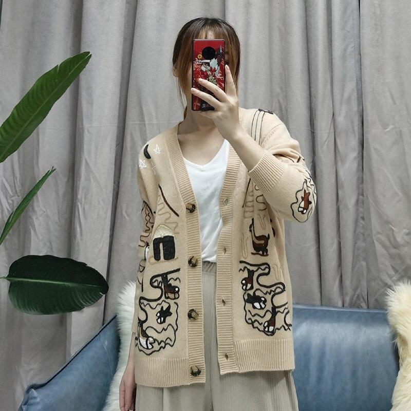 2020 Autumn Sweater Ladies V-neck Long Sleeve Wool Knitsweater Fashion Crochet Women Streetwear Tops Winter Clothes for Women enlarge