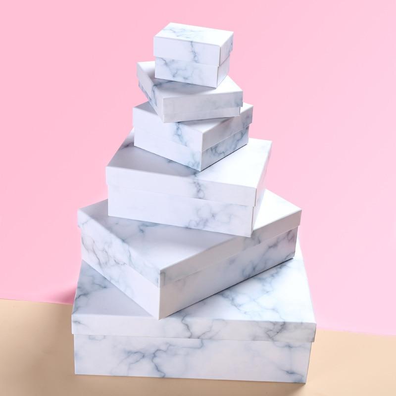 Caja de regalo de mármol rectangular, caja de cartón para regalos de...