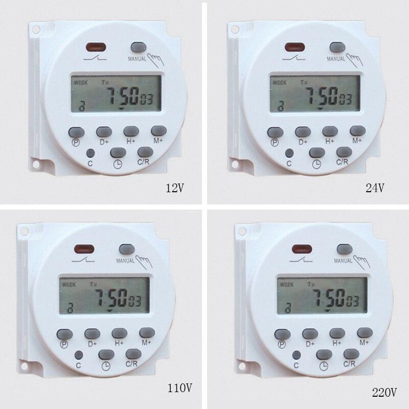 Didizhou CN101A 12V 24V 110V 240V Digital LCD temporizador programable interruptor de tiempo despertador temporizador de luz interruptor relé