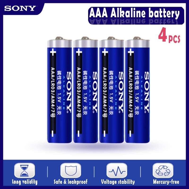 4 pièces dorigine Sony 1.5V AAA pile alcaline LR03 AM4 pour brosse à dents électrique jouet lampe de poche souris horloge sèche batterie primaire