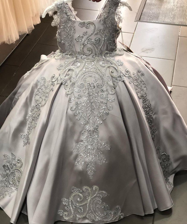 فستان رمادي زهري مخصص للفتيات ، لحفلات الزفاف ، فستان ظهر برباط ، لحفلات أعياد الميلاد ، رأس السنة الجديدة ، الكريسماس