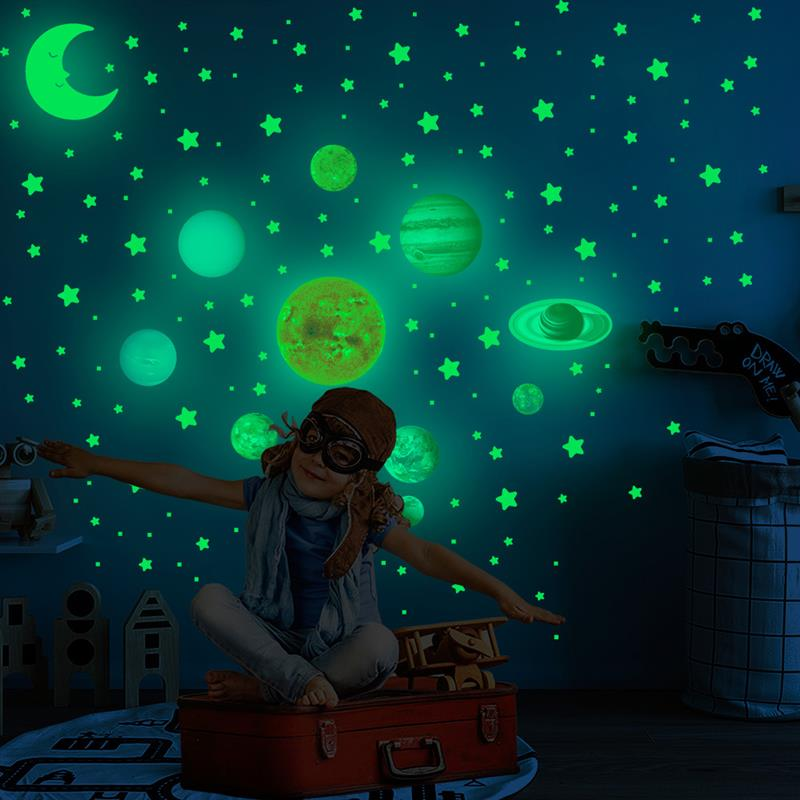 525 Luminous Star Stickers in the Moon Stars and Dot Wall Childrens Bedroom Decoration Party