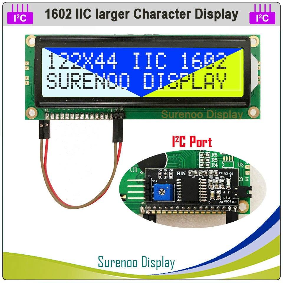 Serial IIC / I2C / TWI 1602 162 16*2 módulo LCD de caracteres más grandes pantalla amarillo verde azul con retroiluminación para Arduino