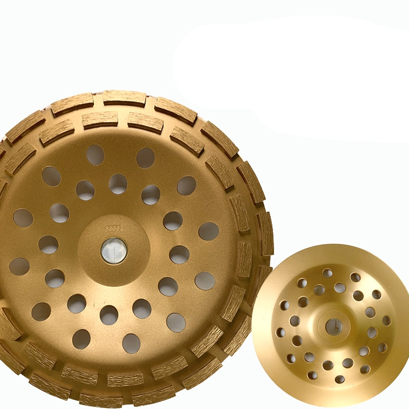Gold 230MM Double Row Diamond Grinding Wheel Disc Bowl Shape Grinding Cup Diamond Segments Concrete Granite Professional Tools