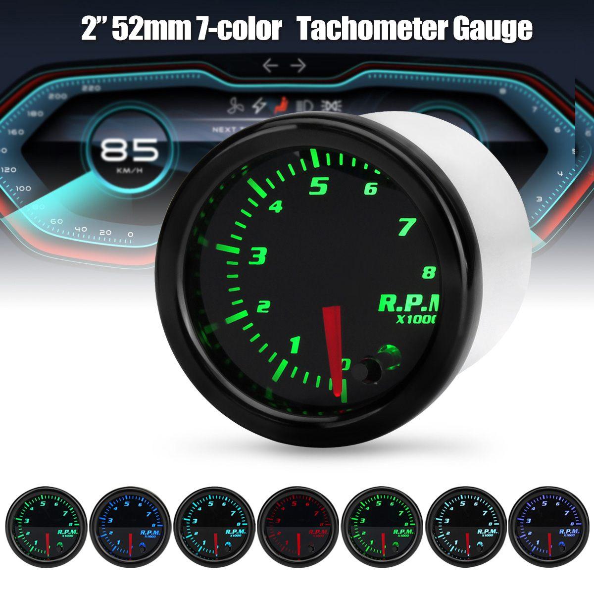 2 Polegada 52mm 12v carro tacômetro rpm 7 cor led display digital 0-8000 rpm universal carro tach medidor