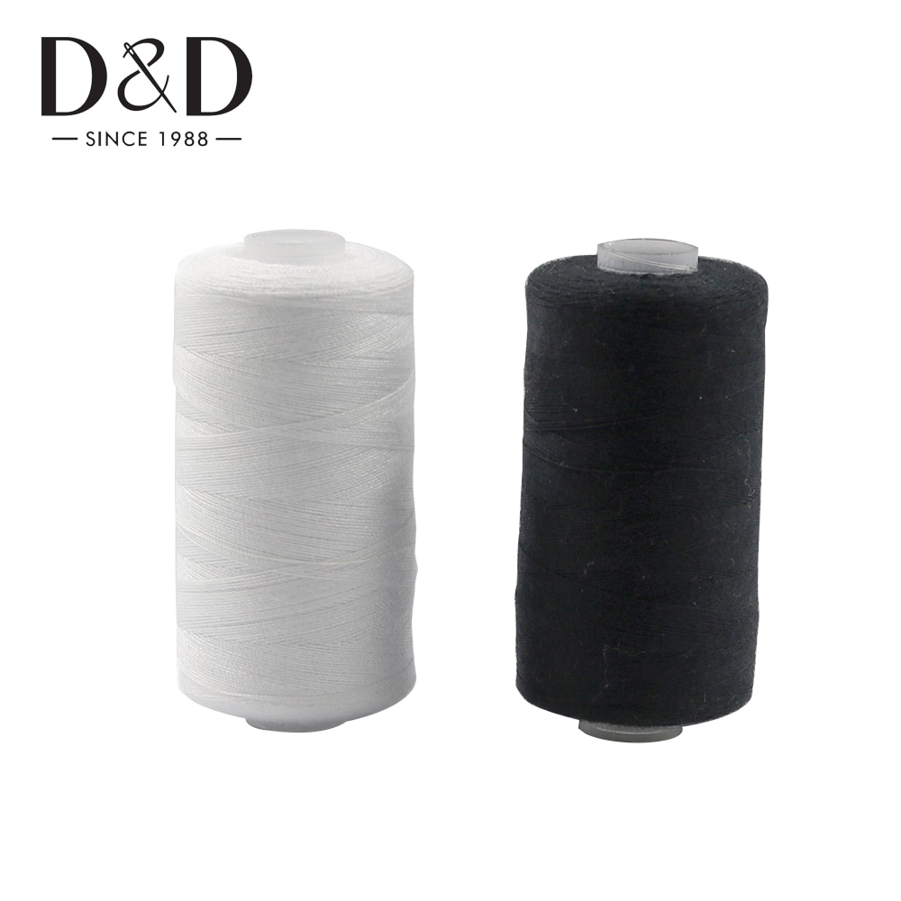 2 個 500 メートルのミシン糸ポリエステル糸セットストロングと耐久性のある黒白ミシン糸のための手のマシン